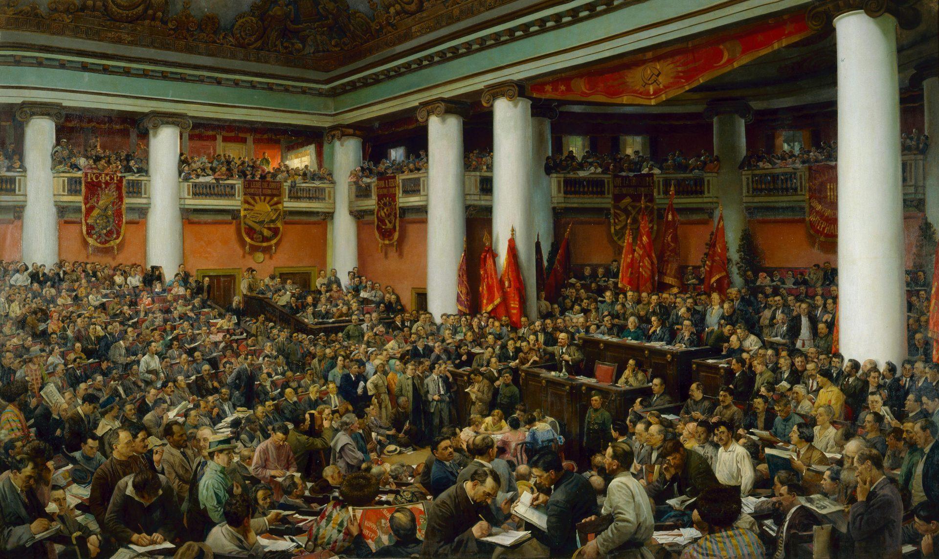 Feierliche Eröff nung des II. Kongresses der Komintern Isaak I Brodski (1883-1939), Sowjetunion, 1924 © Staatliches Historisches Museum, Moskau